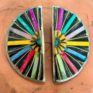 Mixed media artistic earrings